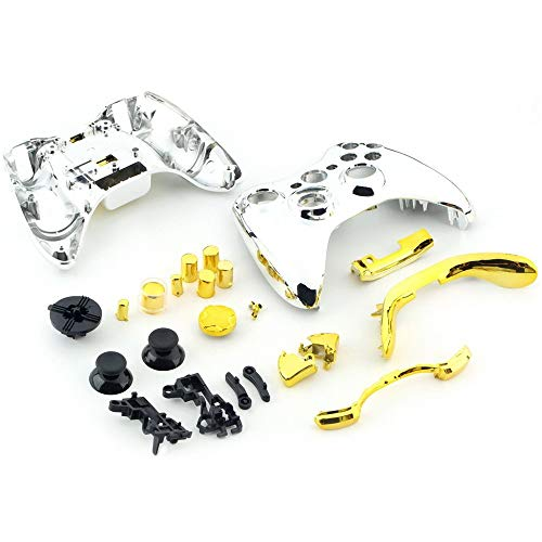 Banghotfire Chrome Silver modded Full Shell Gold Buttons for Xbox 360 Wireless Controller Sivler