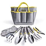 Jardineer Gardening Tools Set, Heavy Duty Garden Tools Kits with Gardening Bags, Aluminum Hand Tools, Gardening Gifts for Woman and Man