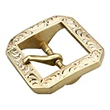 kokungkuan Heavy Duty Men's Brass Single Prong Horseshoe Belt Buckle Carved by Hand