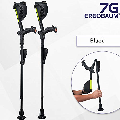 Ergobaum¨ Prime 7TH Generation by Ergoactives. 1 Pair (2 Units) of Ergonomic Forearm Crutches - Adult 5' - 6'6'' Adjustable (Original Black)