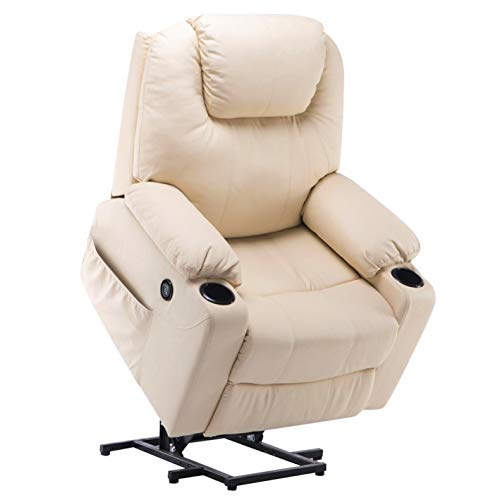 Mcombo Electric Power Lift Massage Sofa Recliner Heated Chair Lounge w/Remote Control USB Charging Ports, 7040 (Cream White)