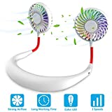 Hands Free Portable Neck Fan - Rechargeable Mini USB Personal Fan Battery Operated with 3 Level Air Flow, 7 LED Lights for Home Office Travel Indoor Outdoor (White)