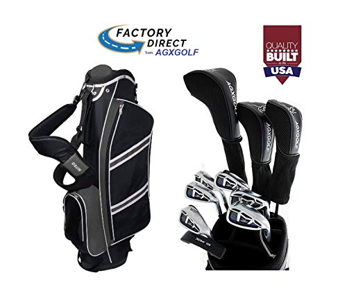 AGXGOLF Senior Men's Magnum Edition Right Hand: Regular Length Complete Golf Club Set w/Stand Bag, 460cc Driver, 3 Wood, Hybrid, 5-9 Irons, Wedge: Built in The USA!