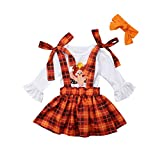 3PCS Toddler Baby Girls Thanksgiving Outfit Ruffle Sleeve Little Turkey Tops+Suspender Plaid Skirt Set White