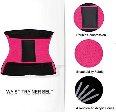 QEESMEI Waist Trainer Belt for Women & Man - Waist Cincher Trimmer Weight Loss Ab Belt - Slimming Body Shaper Belt(Hotpink,Large) 6