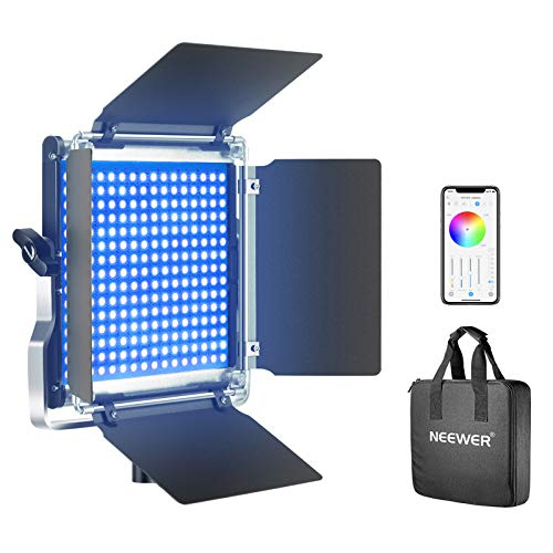 Neewer-660-RGB-Led-Light-with-APP-Control-660-SMD-LEDs-CRI953200K-5600KBrightness-0-1000-360-Adjustable-Colors9-Applicable-Scenes-with-LCD-ScreenU-BracketBarndoor-Metal-Shell-for-Photography