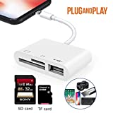 SD/TF Card Reader Adapter, USB 2.0 Female OTG Adapter Cable Compatible for iPhone and iPad,Trail Game Camera SD Card Reader No App Required, Plug and Play (3 in 1)