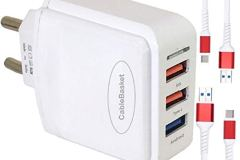 Fast Mobile Charger for Android Phones 3 USB Ports with USB Fast Charging Data Cables