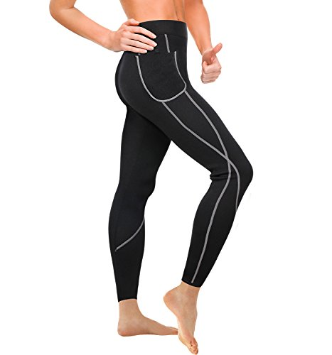 Wonderience Women Sauna Weight Loss Slimming Neoprene Pants Hot Thermo Fat Burning Sweat Leggings (Black, M)