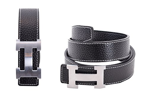 Dinamit Women's H Reversible Leather Belt With Removable Buckle Black with Silver Buckle
