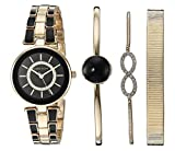 Anne Klein Women's AK/3286BKST Swarovski Crystal Accented Gold-Tone and Black Watch and Bracelet Set