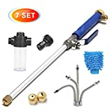 CAVEEN Jet Car Washer Power Hose Nozzle, Magic High Pressure Wand, Flexible Water Hose Nozzle Sprayer Extendable Home Garden Car Washing Glass Window Cleaning