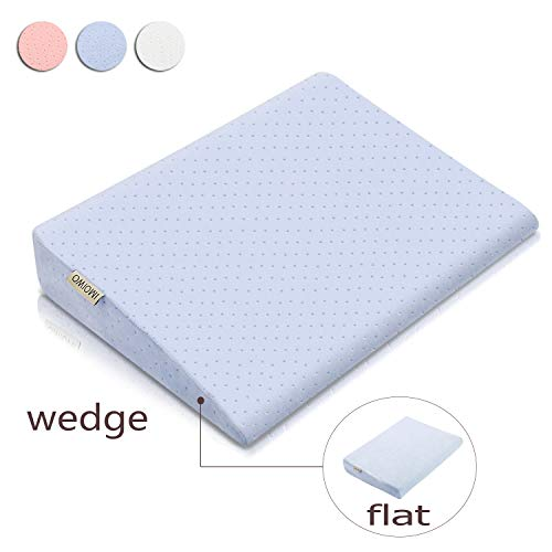 OMIOWI Crib Wedge Pillow for Baby, Wedge & Flat Pillow 2 in 1, for Infant, Newborn, Prevent Acid Reflux, Waterproof & Movable Cover, Memory Foam (Blue)