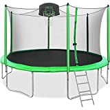 Merax 14FT Trampoline with Safety Enclosure Net, Basketball Hoop and Ladder, Trampoline for Kids (Green 14FT)
