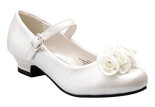 DressForLess Mary Jane Shoes with Pretty Satin Rolled Rosettes Patent Leather-Ivory-13-(LA5216)
