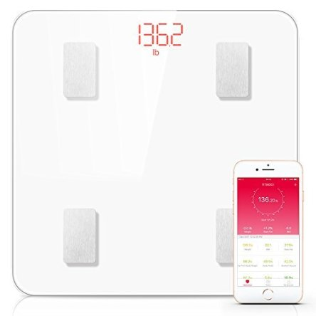 Bluetooth Body Fat Scale, FITINDEX Smart Wireless Digital Bathroom Weight Scale Body Composition Analyzer Health Monitor