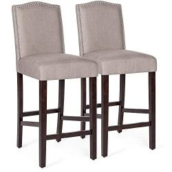 Best Choice Products Set of 2 30in Contemporary Upholstered Linen Counter Height Armless Backed Accent Breakfast Bar Stool Chairs for Dining Room, Kitchen, Bar w/Studded Nail Head Trim – Beige