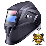 Welding Helmet with Top Optical Class 1/1/1/1, Full Shade Range 3/4-8/9-13, UV/IR Protection DIN 16, 6Pcs Replacement Lenses, Protecting Bag, Grinding Feature for TIG MIG MMA Plasma - PAH04D