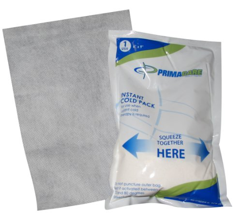 Primacare PCP-69 First Aid Instant Cold Pack For Injuries with Cover Size 6' x 9' (Pack of 24)