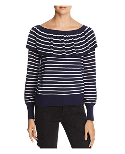 71Vt1pWNB%2BL An allover striped look with hints of nautical inspiration. Wool-touched Joie sweater was designed with a modern ruffled overlay. Versatile boat neck or off-the-shoulder.