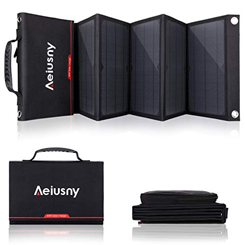 Aeiusny Foldable Solar Charger 40W Portable Solar Panel Charger with DC Output Waterproof...