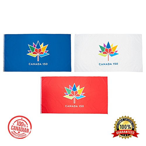 Canada 150 Flag - set of 3-Pack 3 colours - 3x5ft --BEST VALUE-- NEW
