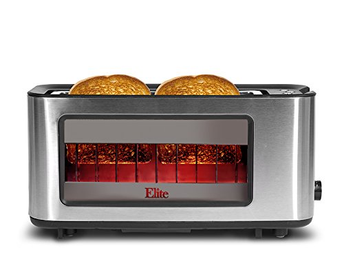 Elite Platinum ECT-153 Maxi-Matic 2-Slice Glass Sided Toaster, Silver