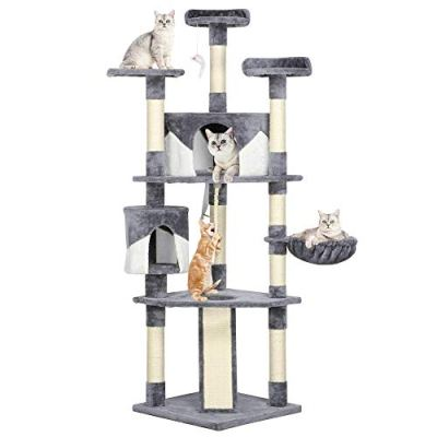 YAHEETECH 79in Multi-Level Cat Trees with Sisal-Covered Scratching...