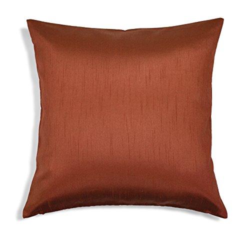 Aiking Home Solid Faux Silk Euro Sham/Pillow Cover, Zipper Closure, 26 by 26 Inches, Terracotta