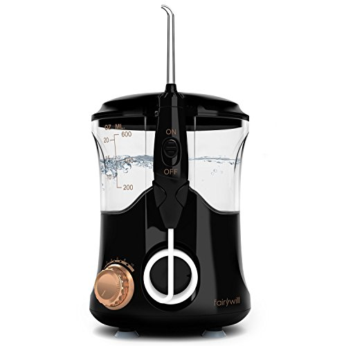 Water Flosser Dental Flosser 10 Pressure Settings 600ml Countertop Professional Oral Irrigator for Family with 4 Jet Tip for Braces Black By Fairywill