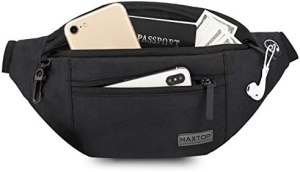 MAXTOP Large Fanny Pack with 4-Zipper Pockets,Gifts for Enjoy Festival Sports Workout Traveling Running Casual Hands-Free Waist Pack Crossbody Phone Bag Carrying All Phones