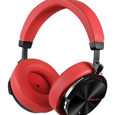 Bluedio T5S Cuffie Bluetooth Over Ear con Microfono, Cuffie con Cancellazione del Rumore Attivo 57mm Driver Cuffie Wireless per Lavoro da viaggio TV PC Cellphone, 25 Ore di Riproduzione,Rosso