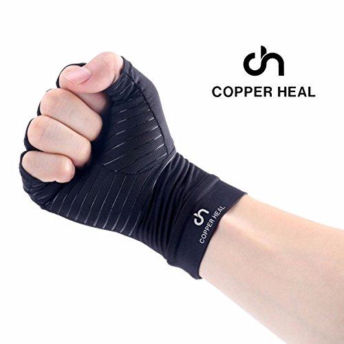 COPPER HEAL Arthritis Compression Gloves – Best Medical Copper Glove Guaranteed to Work for Rheumatoid Arthritis, Carpal Tunnel, RSI Osteoarthritis & Tendonitis Open in Fingers Fingerless Fit Size M deal 50% off 41nHD 2MrdL