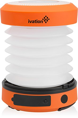 Ivation Solar LED Camping Lantern Collapsible & Rainproof, USB Flashlight torch Mini Lamp with hanging handle, 2 Lighting levels, Emergency Cell Phone charger, Recharges with Solar Poweredor via USB, Never need to change batteries, Easy to store,Orange