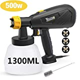 Paint Sprayer, TECCPO Paint Sprayer 500 Watts 800ml/min HVLP Spray Gun with 1300ml Detachable Container, 3 Pcs Copper Nozzles & 3 Spray Patterns, Adjustable Valve Knob for Home Decoration & DIY