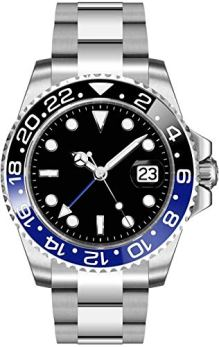 Fanmis GMT Master Sapphire Glass Blue and Black Ceramic Bezel Men's Automatic Watch