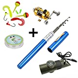 Pen Fishing Pole 39 Inch Mini Pocket Fishing Rod and Reel Combos Travel Fishing Rod Set - Pocket Fishing Rod Pole + Reel Aluminum Alloy + Fishing Line + Soft Lures Set + 7 in 1 Safety Whistle (Blue)