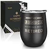 Best Unique Retirement Gifts-The Legend Has Retired-12oz Wine Tumbler with Spill-Proof Lid,Stainless Steel Double Wall Vacuum Insulated Wine Cup, For Dad, Police, Teacher, Boss, Gifts for Retired Men