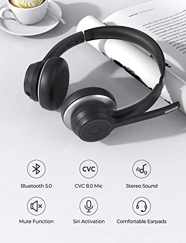 Mpow Bluetooth Headset V5 0 With Dual Microphone Wireless Pc Headphones Cvc8 0 Noise Canceling On Ear For Computer Cell Phone Call Center Office Skype 22 H Talk Time Soft Earpad Wired Optional Rahnews