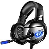 ONIKUMA Pro Gaming Headset for PS4, Xbox One, PC Stereo Gaming Headphones with 7.1 Surround Sound PS4 Headset with Noise Cancelling Mic, Mute & Volume Control, Zero Ear Pressure & Durable Frame