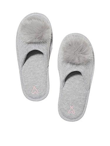 Victoria's Secret Pom Pom Pretty Slippers Grey- Medium 7/8
