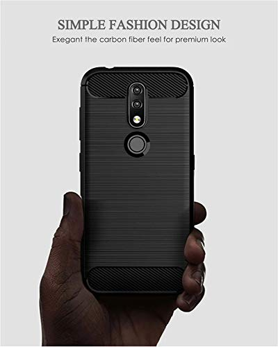 Prime Retail Dual Layer Carbon Fiber Hybrid Finish Pudding Back Cover Clear Thin Case for Nokia 4.2 4