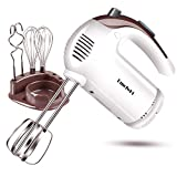 DmofwHi 5 Speed Hand Mixer Electric, 300W Ultra Power Kitchen Hand Mixers with 6 Stainless Steel Attachments (2 Wired Beaters,2 Whisks and 2 Dough Hooks) and Storage Case