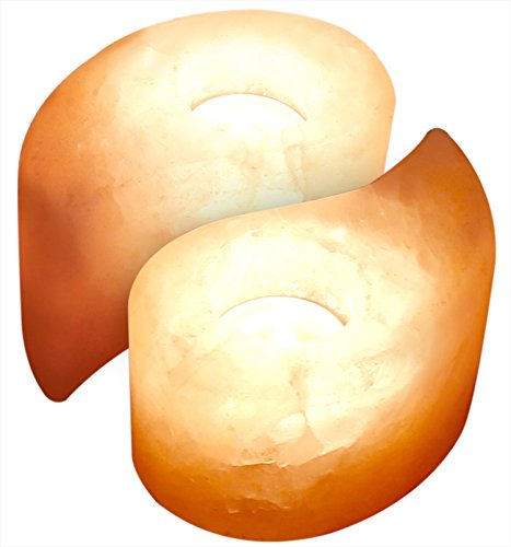 Crystal Allies Gallery:  Pack of 2 Natural Himalayan Salt Tea Light Candle Holder w/ Authentic Crystal Allies Info Card