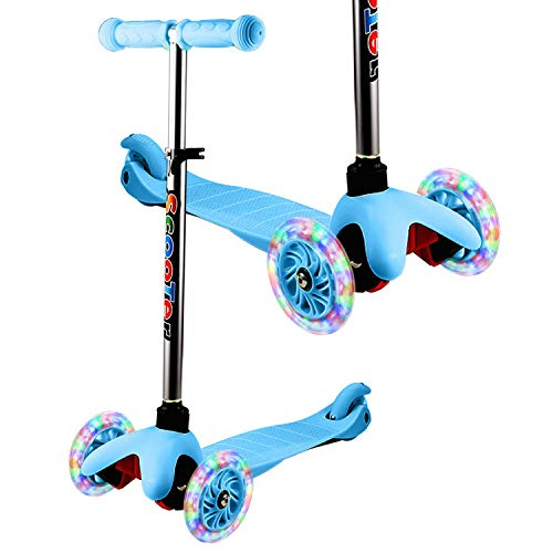 YUEBO Kick Scooter for Toddlers & Kids/Non-Batteries LED Light Up Scooter/ 3 Wheels Height Adjustable Scooter/Grils Boys Scooter Suitable for Children from 2-8 Years Old