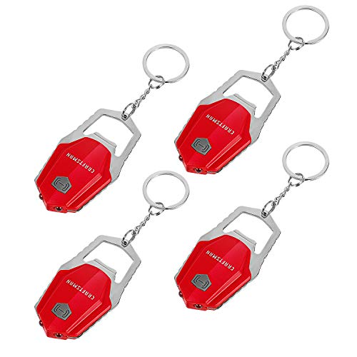 Craftsman CMXLZAG67063 4-Piece Mini LED Keychain Flashlight Set, Ultra Bright Light Torch with Bottle Opener and Hook, Batteries Included