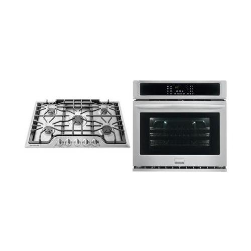 Frigidaire 2-Piece Kitchen Package with FGGC3047QS 30' Gas Cooktop, and FGEW3065PF 30' Electric Single Wall Oven in Stainless Steel