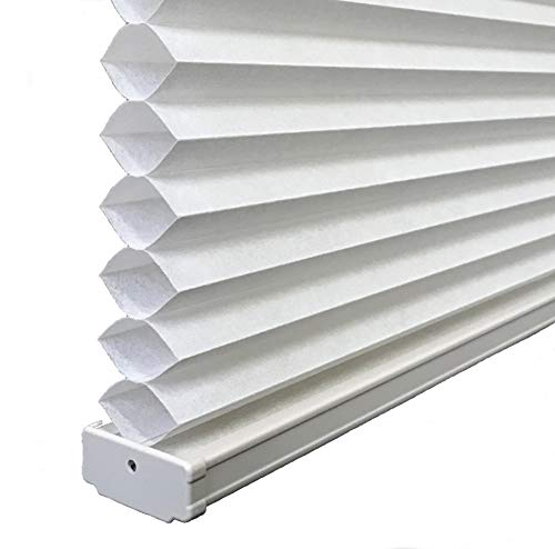 BlindDen Cotton White, Light Filtering Cellular/Honeycomb Shades, 70' Wide x 48' Long, Cordless