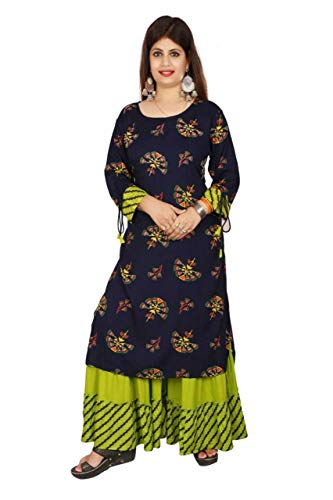Women's Rayon Hand Work Straight Kurta and Sharara Set/Ethnic wear/Tradtional Wear/Kurti Botton Set/Kurti Sharara Set (JITARWAL ENTERPRISES)