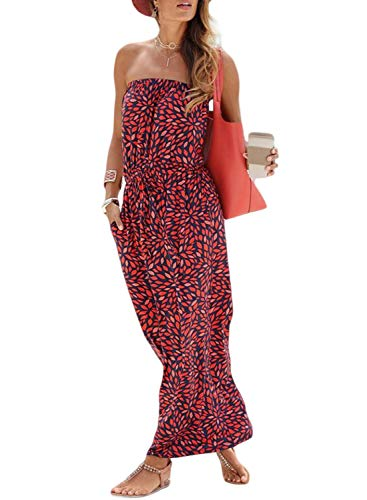 Happy Sailed Women Strapleess Floral Print Bohemian Beach Dress Casual Off Shoulder Long Dress with Pockets